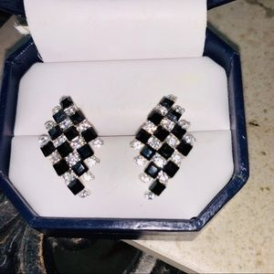 Checkered, black and white sparkling cz earrrings.